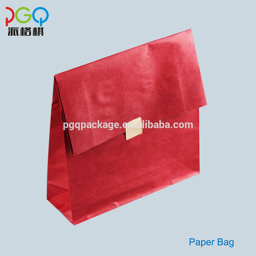 flat folding side gusset self opening kraft brown paper bag